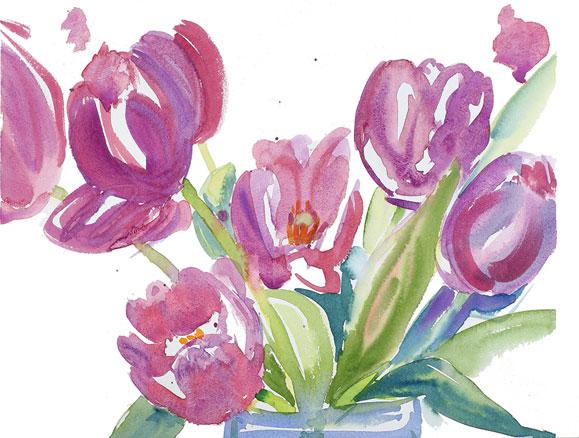 tulpen lila blumen aquarell illustration katja rosenberg. Black Bedroom Furniture Sets. Home Design Ideas